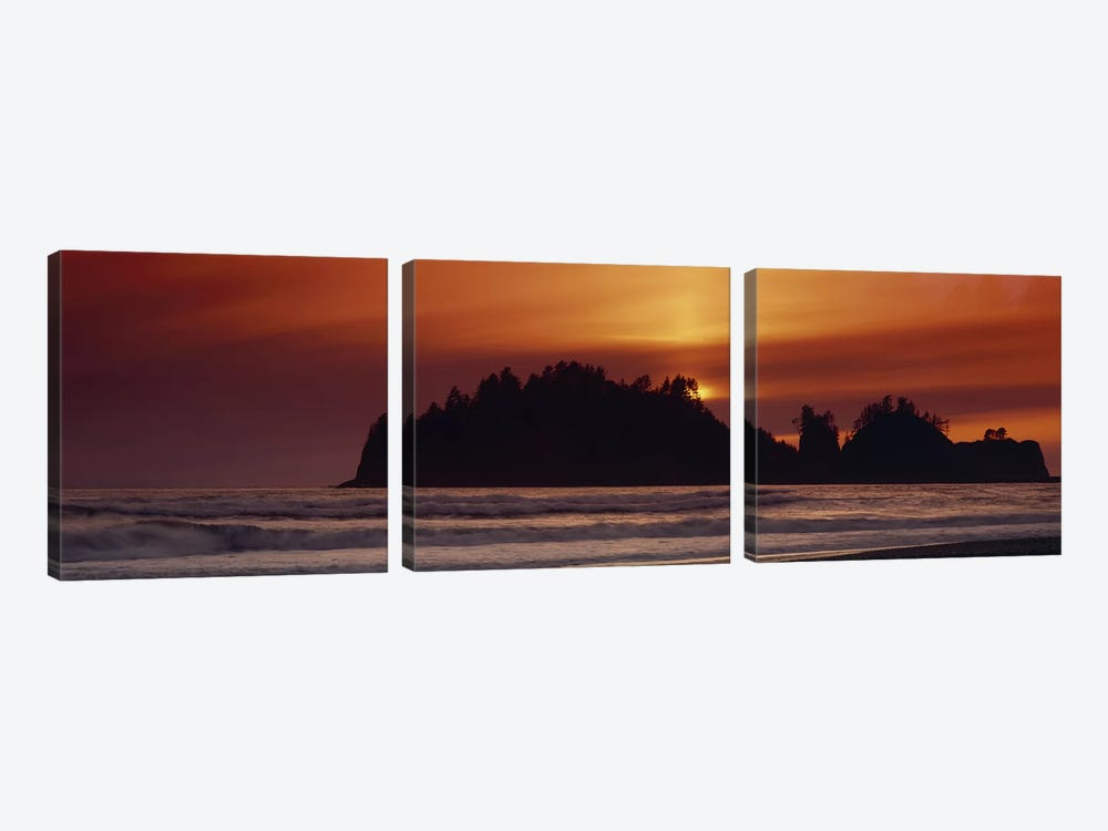 Silhouette of sea stack at sunrise, Washington State, USA by Panoramic Images 3-piece Canvas Artwork