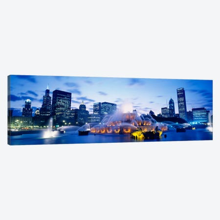 Buckingham Fountain At Twilight, Grant Park, Chicago, Illinois, USA Canvas Print #PIM860} by Panoramic Images Canvas Wall Art