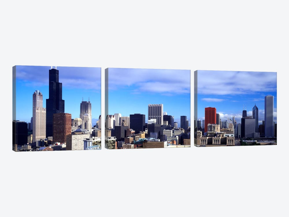 Skyscrapers in a city, Sears Tower, Chicago, Cook County, Illinois, USA by Panoramic Images 3-piece Art Print