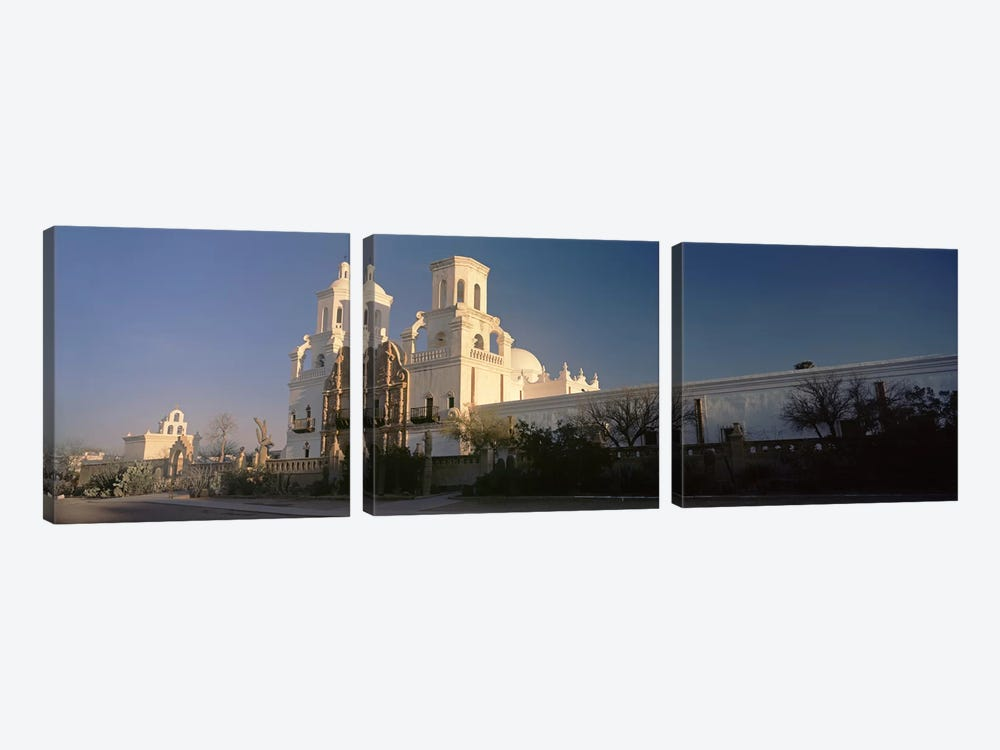 Low angle view of a church, Mission San Xavier Del Bac, Tucson, Arizona, USA by Panoramic Images 3-piece Canvas Artwork