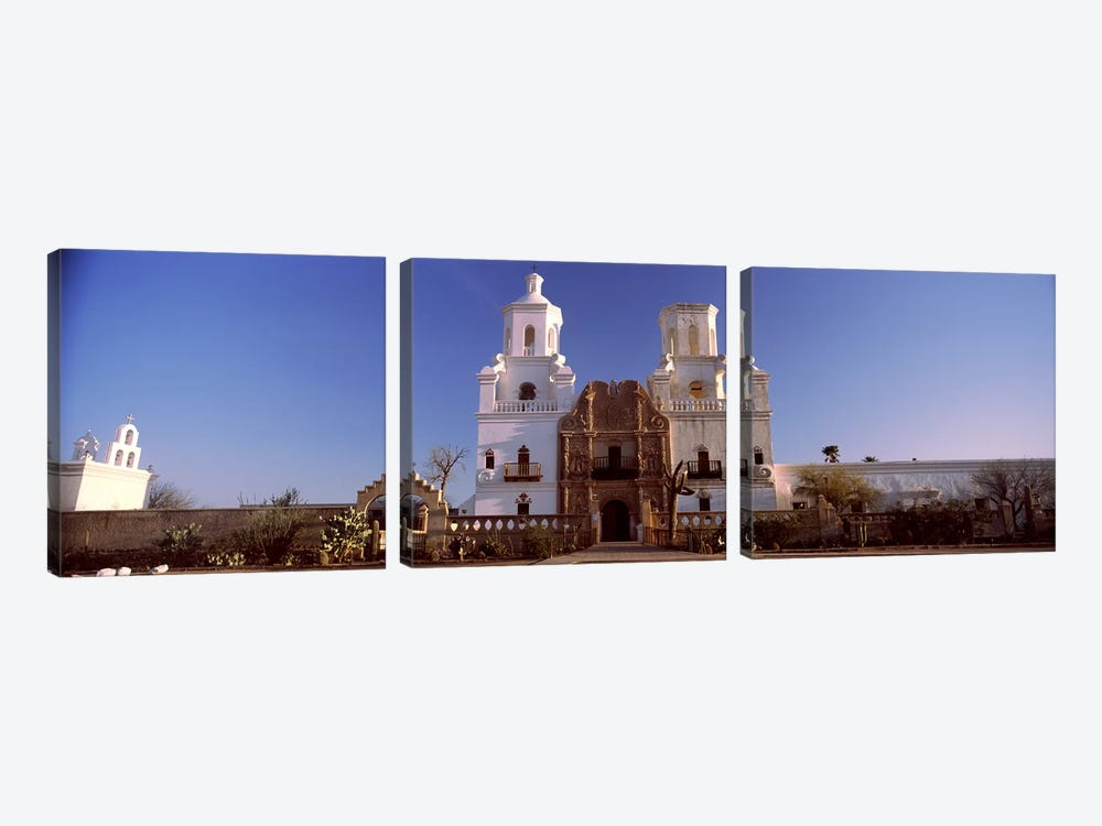 Low angle view of a church, Mission San Xavier Del Bac, Tucson, Arizona, USA #2 by Panoramic Images 3-piece Canvas Print