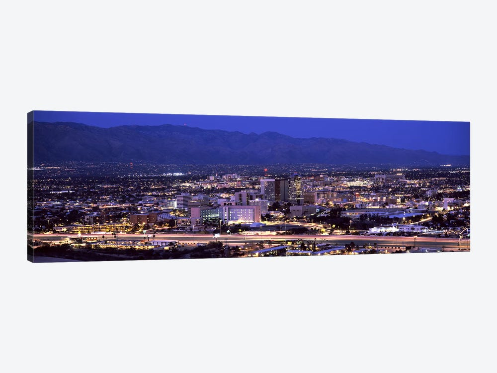 Aerial view of a city at nightTucson, Pima County, Arizona, USA by Panoramic Images 1-piece Canvas Art Print