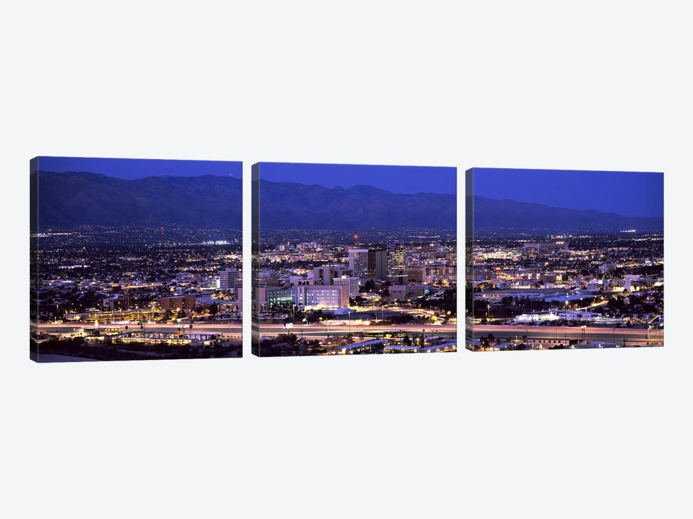 Aerial view of a city at nightTucson, Pima County, Arizona, USA by Panoramic Images 3-piece Canvas Print