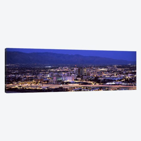 Aerial view of a city at nightTucson, Pima County, Arizona, USA Canvas Print #PIM8639} by Panoramic Images Canvas Artwork