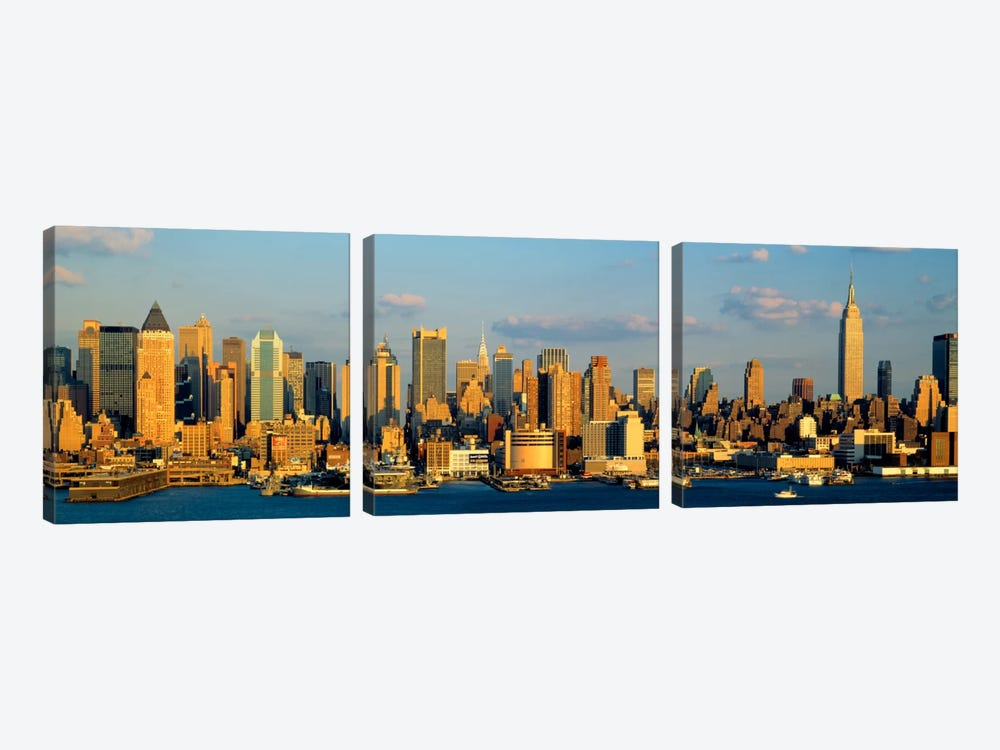 Hudson River, City Skyline, NYC, New York City, New York State, USA by Panoramic Images 3-piece Canvas Wall Art