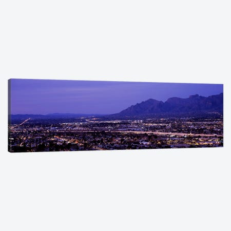Aerial view of a city at nightTucson, Pima County, Arizona, USA Canvas Print #PIM8640} by Panoramic Images Canvas Art Print
