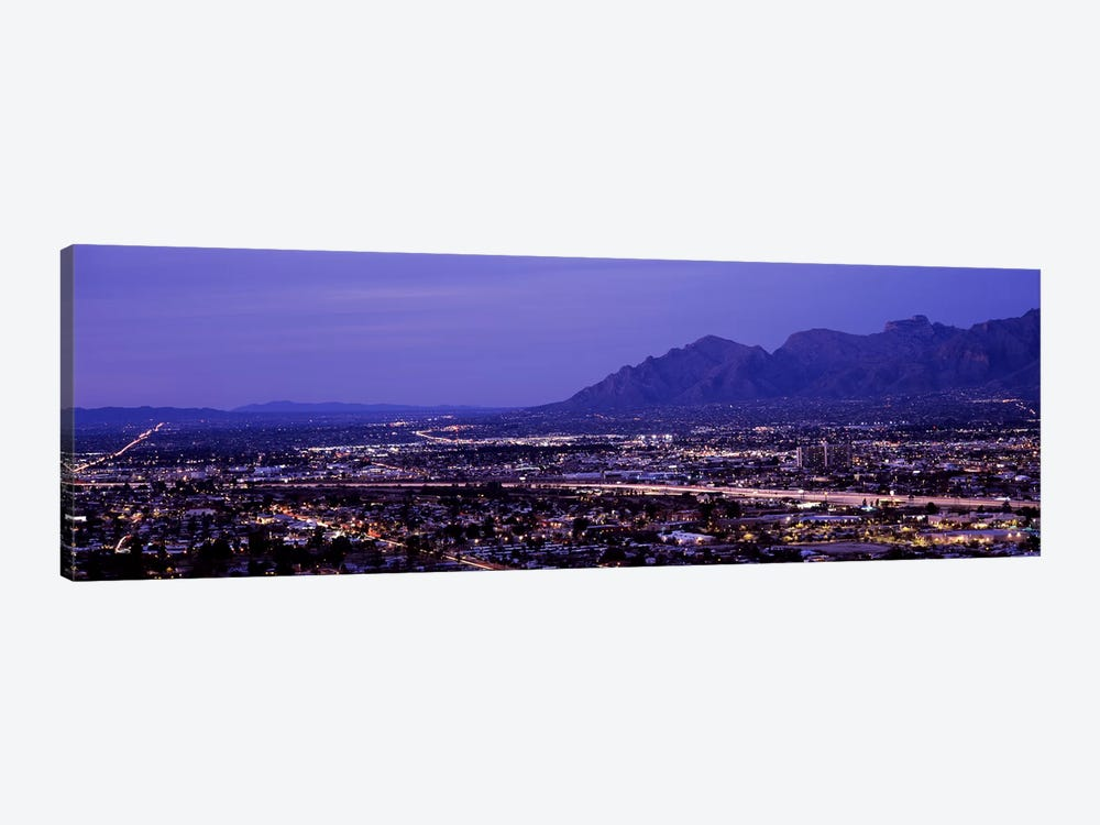 Aerial view of a city at nightTucson, Pima County, Arizona, USA by Panoramic Images 1-piece Canvas Print