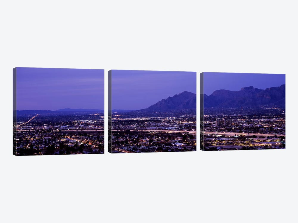 Aerial view of a city at nightTucson, Pima County, Arizona, USA by Panoramic Images 3-piece Art Print