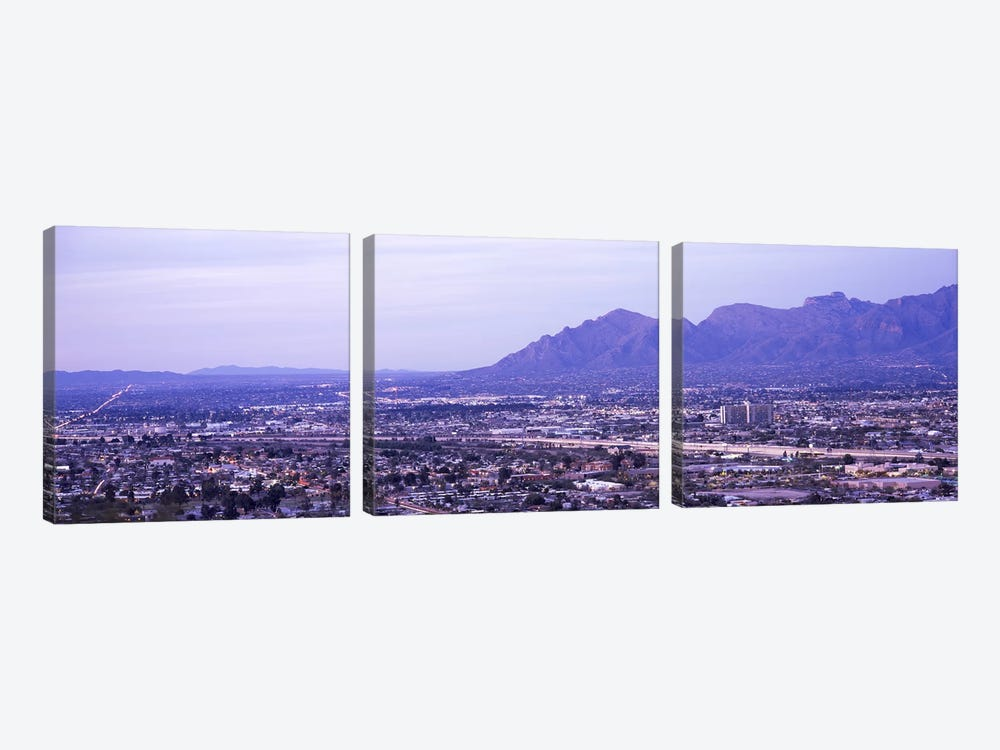 Aerial view of a city, Tucson, Pima County, Arizona, USA by Panoramic Images 3-piece Canvas Wall Art