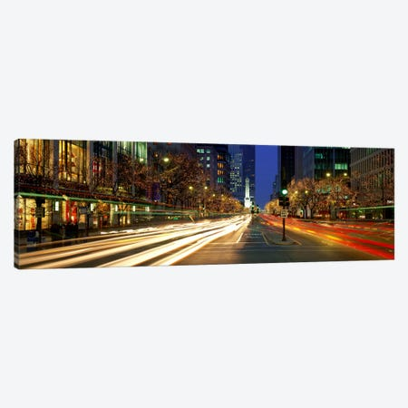 Blurred Motion, Cars, Michigan Avenue, Christmas Lights, Chicago, Illinois, USA Canvas Print #PIM864} by Panoramic Images Art Print