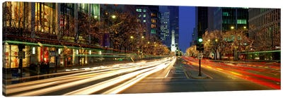 Blurred Motion, Cars, Michigan Avenue, Christmas Lights, Chicago, Illinois, USA Canvas Print #PIM864