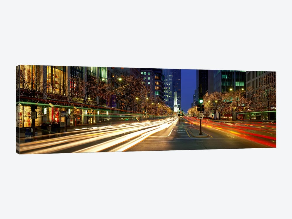 Blurred Motion, Cars, Michigan Avenue, Christmas Lights, Chicago, Illinois, USA by Panoramic Images 1-piece Art Print