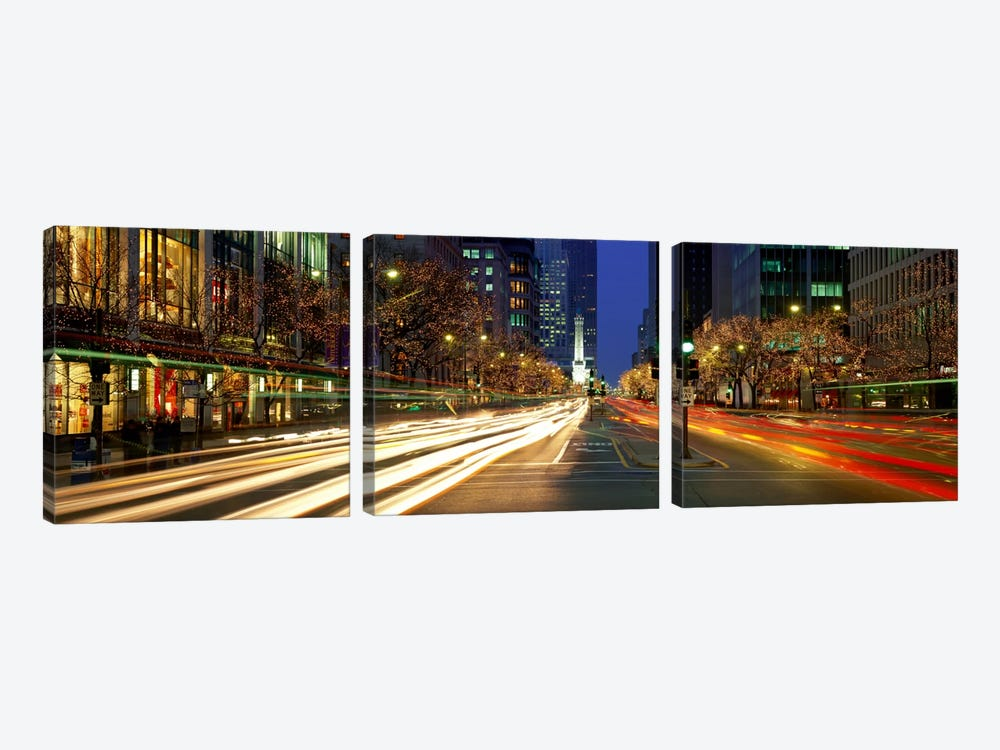 Blurred Motion, Cars, Michigan Avenue, Christmas Lights, Chicago, Illinois, USA by Panoramic Images 3-piece Canvas Art Print