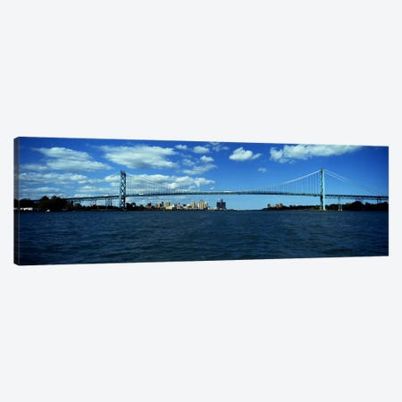 Bridge across a river, Ambassador Bridge, Detroit River, Detroit, Wayne County, Michigan, USA Canvas Print #PIM8676} by Panoramic Images Canvas Art Print