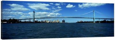 Bridge across a river, Ambassador Bridge, Detroit River, Detroit, Wayne County, Michigan, USA Canvas Art Print