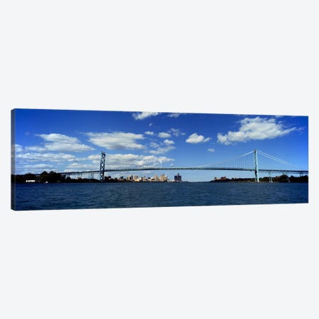 Bridge across a riverAmbassador Bridge, Detroit River, Detroit, Wayne County, Michigan, USA Canvas Print #PIM8677} by Panoramic Images Art Print