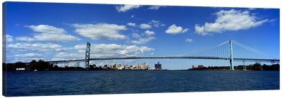 Bridge across a riverAmbassador Bridge, Detroit River, Detroit, Wayne County, Michigan, USA Canvas Print #PIM8677