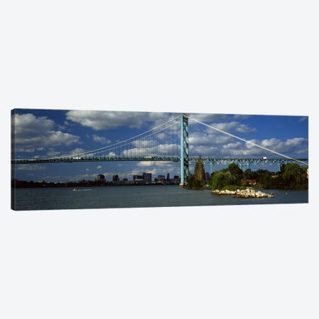 Bridge across a river, Ambassador Bridge, Detroit River, Detroit, Wayne County, Michigan, USA #2 Canvas Print #PIM8678} by Panoramic Images Canvas Wall Art