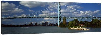 Bridge across a river, Ambassador Bridge, Detroit River, Detroit, Wayne County, Michigan, USA #2 Canvas Print #PIM8678