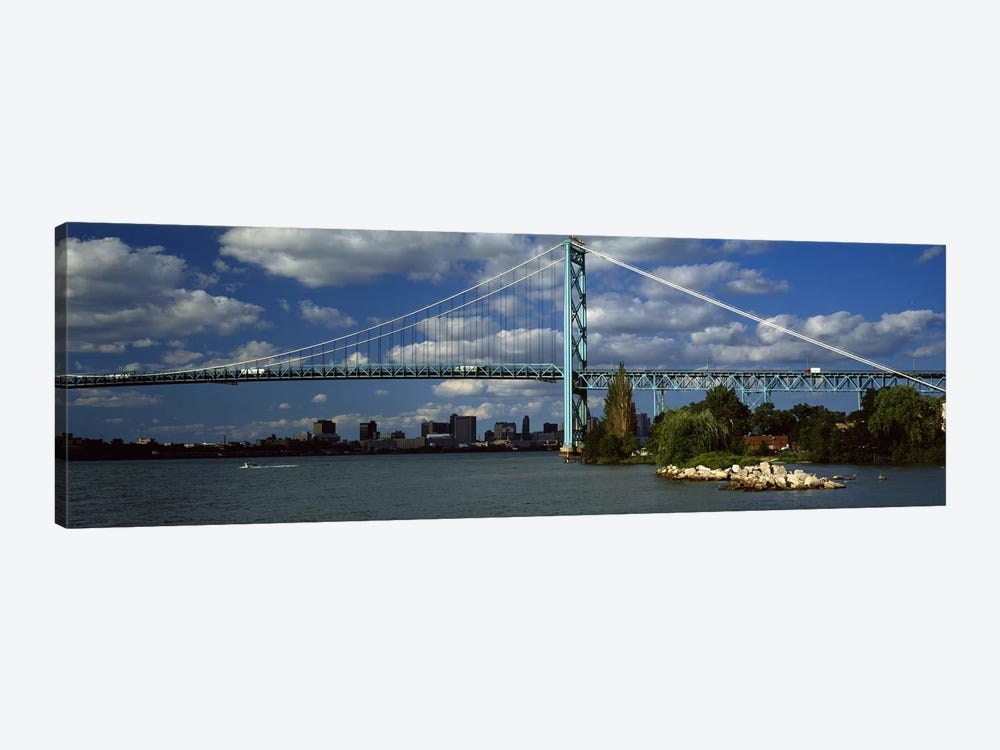 Bridge across a river, Ambassador Bridge, Detroit River, Detroit, Wayne County, Michigan, USA #2 by Panoramic Images 1-piece Canvas Art