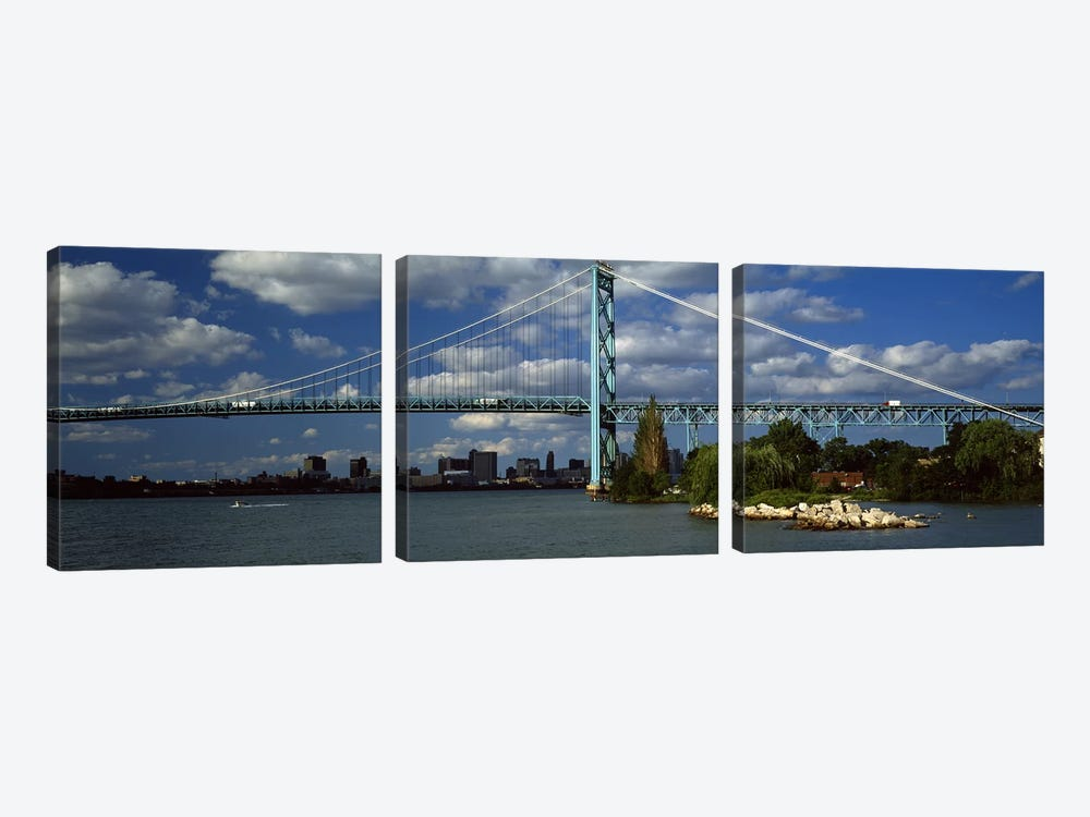 Bridge across a river, Ambassador Bridge, Detroit River, Detroit, Wayne County, Michigan, USA #2 by Panoramic Images 3-piece Canvas Art