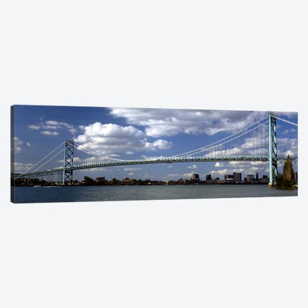 Bridge across a riverAmbassador Bridge, Detroit River, Detroit, Wayne County, Michigan, USA Canvas Print #PIM8679} by Panoramic Images Canvas Artwork