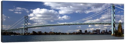 Bridge across a riverAmbassador Bridge, Detroit River, Detroit, Wayne County, Michigan, USA Canvas Art Print
