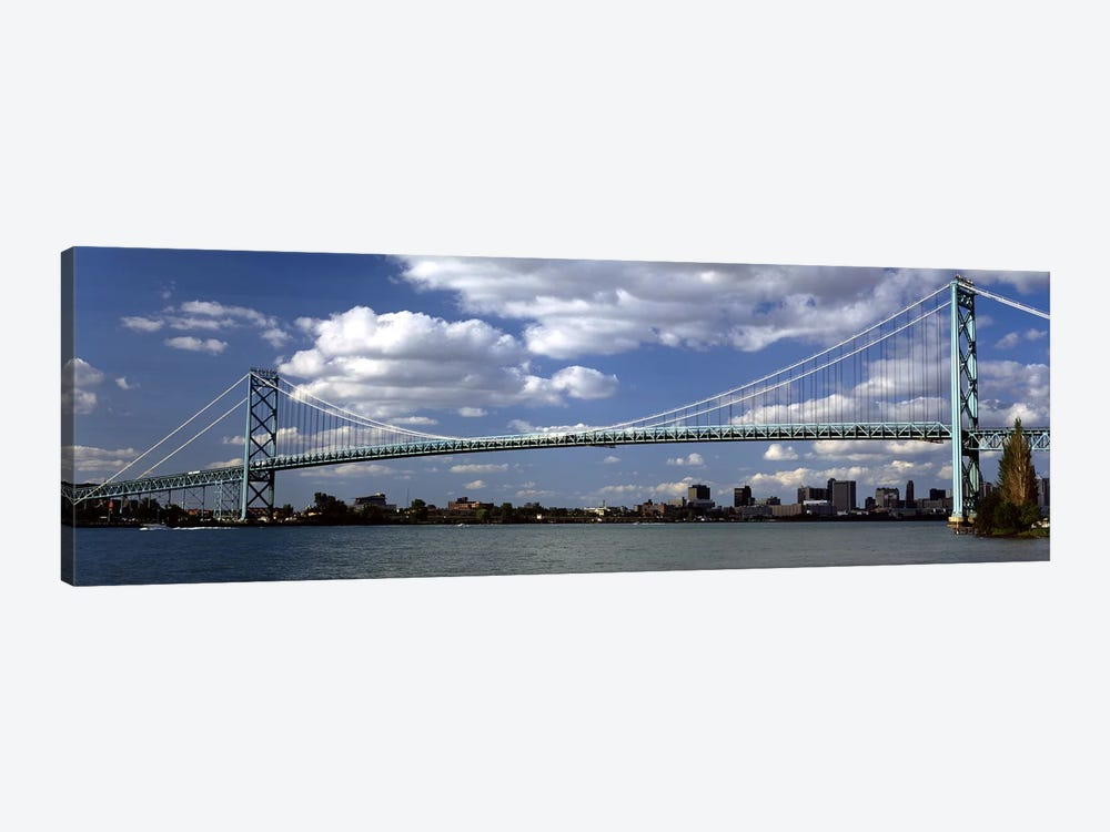 Bridge across a riverAmbassador Bridge, Detroit River, Detroit, Wayne County, Michigan, USA by Panoramic Images 1-piece Canvas Print