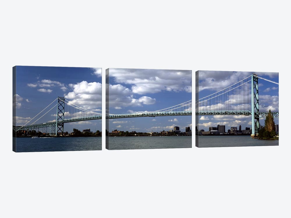 Bridge across a riverAmbassador Bridge, Detroit River, Detroit, Wayne County, Michigan, USA by Panoramic Images 3-piece Canvas Print