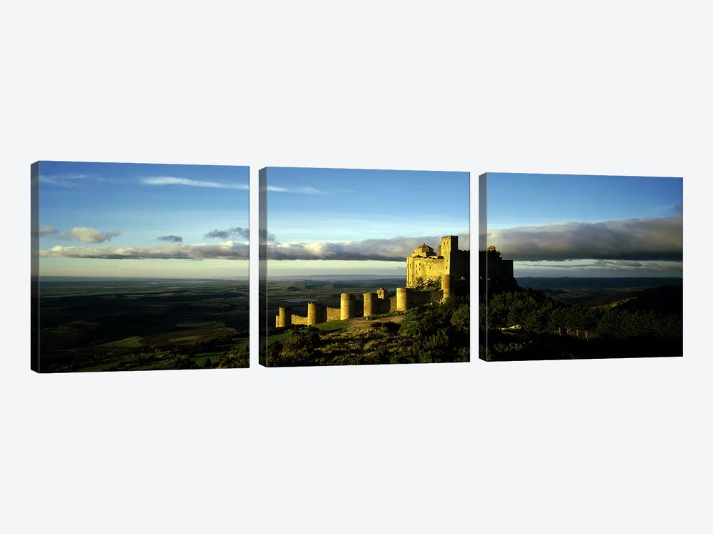 Castle on a hill, Loarre Castle, Huesca, Aragon, Spain 3-piece Canvas Wall Art