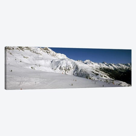 Tourists in a ski resort, Sankt Anton am Arlberg, Tyrol, Austria Canvas Print #PIM8686} by Panoramic Images Canvas Artwork