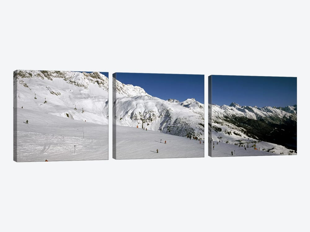Tourists in a ski resort, Sankt Anton am Arlberg, Tyrol, Austria by Panoramic Images 3-piece Canvas Art Print