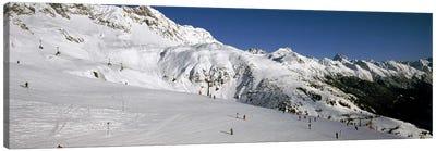 Tourists in a ski resort, Sankt Anton am Arlberg, Tyrol, Austria Canvas Art Print