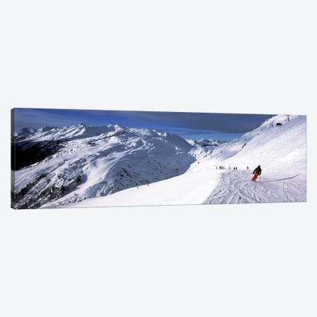 Tourists skiing in a ski resort, Sankt Anton am Arlberg, Tyrol, Austria Canvas Print #PIM8687} by Panoramic Images Canvas Wall Art