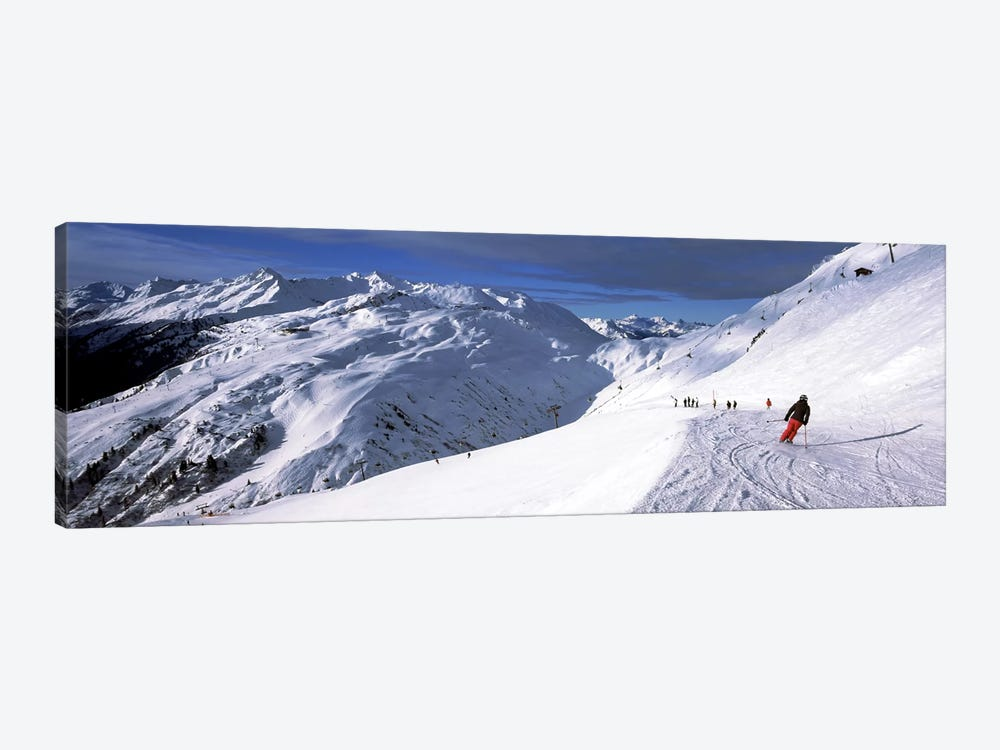 Tourists skiing in a ski resort, Sankt Anton am Arlberg, Tyrol, Austria by Panoramic Images 1-piece Canvas Artwork