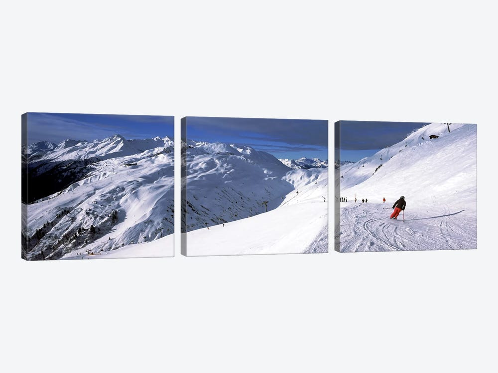 Tourists skiing in a ski resort, Sankt Anton am Arlberg, Tyrol, Austria by Panoramic Images 3-piece Canvas Wall Art