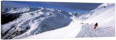 Tourists skiing in a ski resort, Sankt Anton am Arlberg, Tyrol, Austria Canvas Art Print