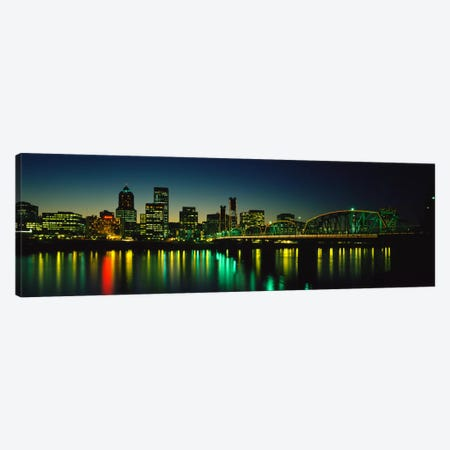 Buildings lit up at nightWillamette River, Portland, Oregon, USA Canvas Print #PIM868} by Panoramic Images Canvas Wall Art