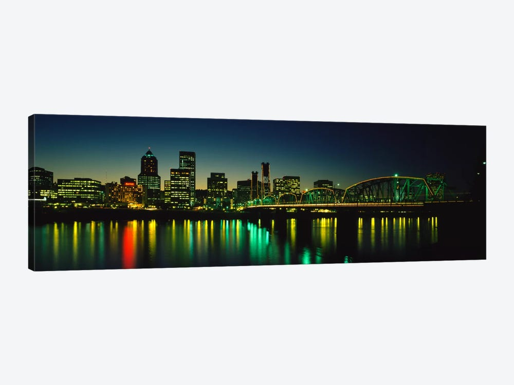 Buildings lit up at nightWillamette River, Portland, Oregon, USA by Panoramic Images 1-piece Canvas Print