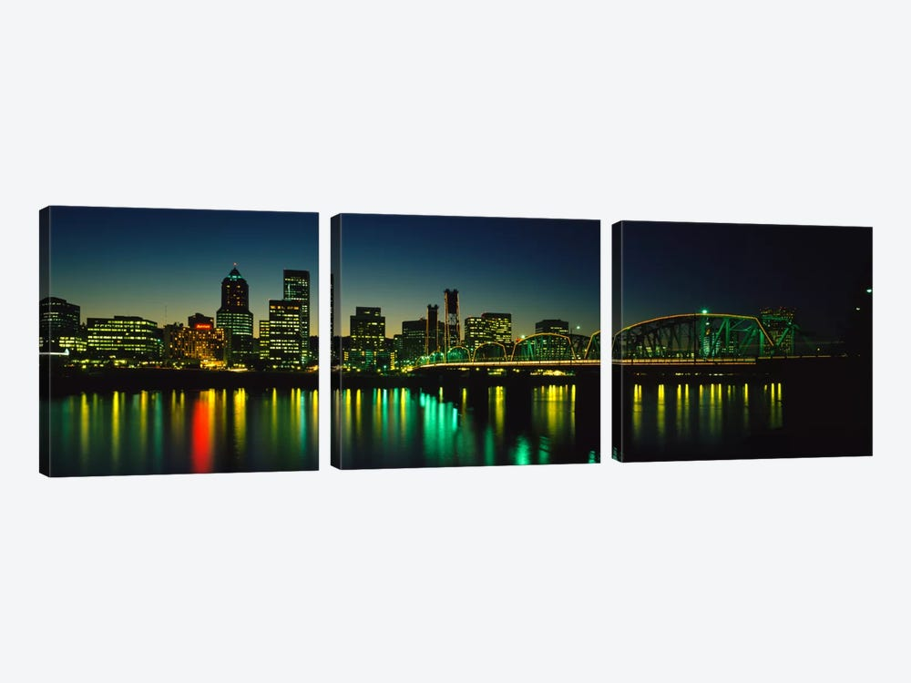 Buildings lit up at nightWillamette River, Portland, Oregon, USA by Panoramic Images 3-piece Canvas Print