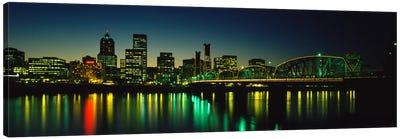 Buildings lit up at nightWillamette River, Portland, Oregon, USA Canvas Art Print