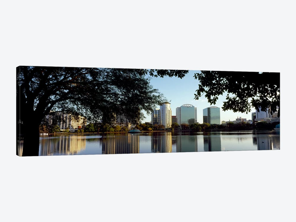 Buildings at the waterfront, Lake Eola, Orlando, Orange County, Florida, USA by Panoramic Images 1-piece Canvas Print