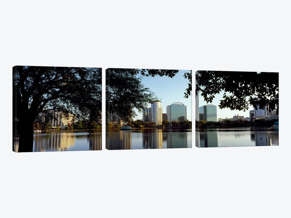 Buildings at the waterfront, Lake Eola, Orlando, Orange County, Florida, USA by Panoramic Images 3-piece Canvas Print