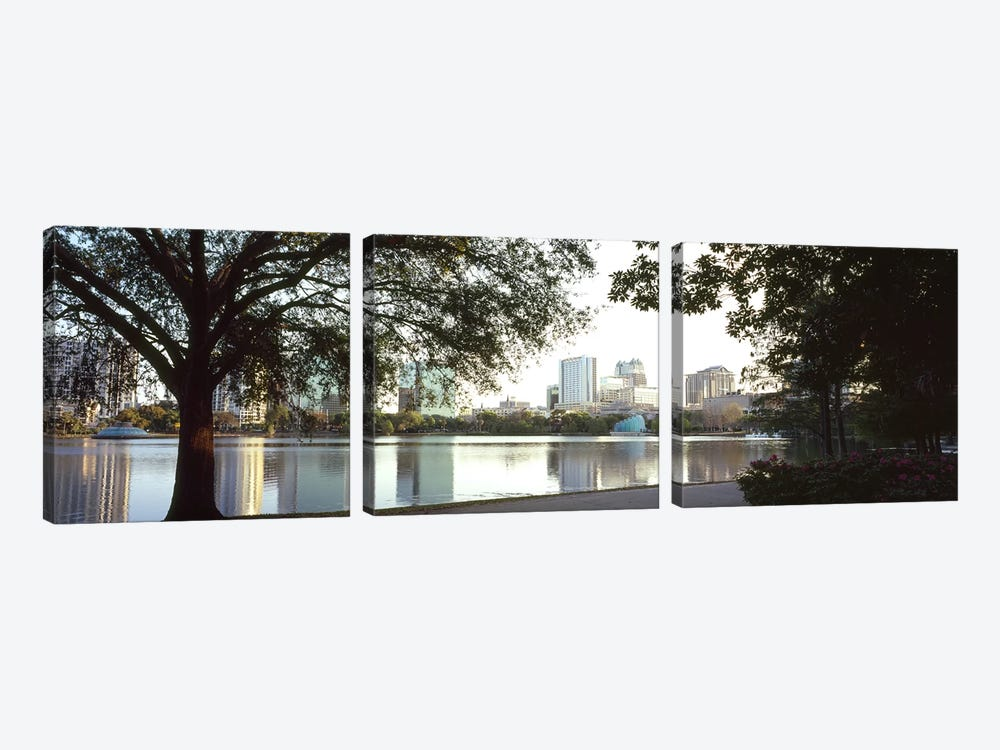 Buildings at the waterfront, Lake Eola, Orlando, Orange County, Florida, USA #2 3-piece Canvas Art