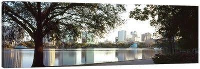 Buildings at the waterfront, Lake Eola, Orlando, Orange County, Florida, USA #2 Canvas Art Print