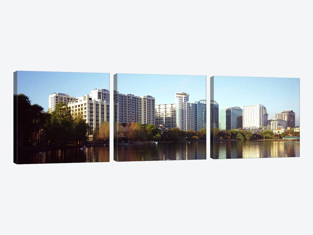 Buildings at the waterfront, Lake Eola, Orlando, Orange County, Florida, USA #3 by Panoramic Images 3-piece Art Print