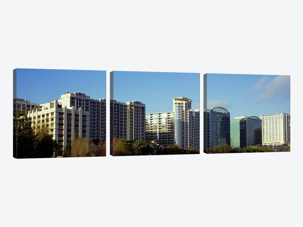 Skyscrapers in a city, Lake Eola, Orlando, Orange County, Florida, USA by Panoramic Images 3-piece Canvas Wall Art