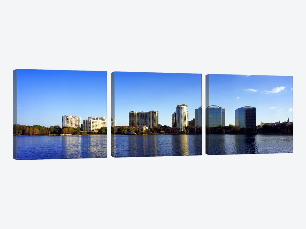 Buildings at the waterfront, Lake Eola, Orlando, Orange County, Florida, USA 2010 #2 by Panoramic Images 3-piece Canvas Artwork