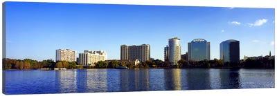 Buildings at the waterfront, Lake Eola, Orlando, Orange County, Florida, USA 2010 #2 Canvas Art Print