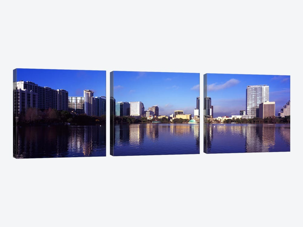 Buildings at the waterfront, Lake Eola, Orlando, Orange County, Florida, USA 2010 #3 by Panoramic Images 3-piece Canvas Art Print